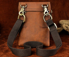 Mens Leather Small Belt Pouch Side Bag Waist Pouch Holster Belt Cases for Men
