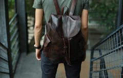 Cool Black Coffee Mens Leather Backpack Travel Backpack School Backpacks for men