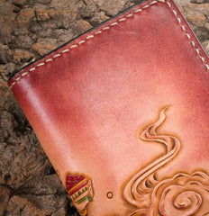 Handmade Leather Mens Clutch Wallet Tooled Cool Ganesha Wallet Long Zipper Wallets for Men