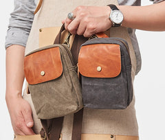 Canvas Leather Mens Belt Pouch Waist Bag Small Side Bag for Men