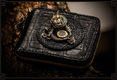 Handmade Leather Chinese Dragon Tooled Mens Short Wallet Cool Chain Wallet Biker Wallet for Men