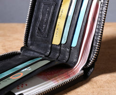 Genuine Leather Mens Cool billfold Leather Wallet Men Zipper Wallet Bifold for Men