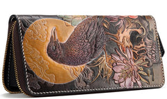 Handmade Leather Mens Clutch Wallet Cool Gold Toad Triped Crow Tooled Wallet Long Zipper Wallets for Men
