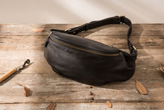 Black Leather Fanny Packs Mens Waist Bag Hip Pack Belt Bag for Men