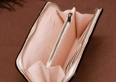 Handmade Leather Mens Clutch Wallet Cool Zhong Kui Tooled Wallet Long Zipper Wallets for Men