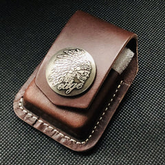 Brown Handmade Leather Mens Chinese Lion Zippo Lighter Holders Lighter Case For Men