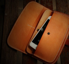 Handmade Leather Men Slim Cool Leather Wallet Long Phone Clutch Wallets for Men