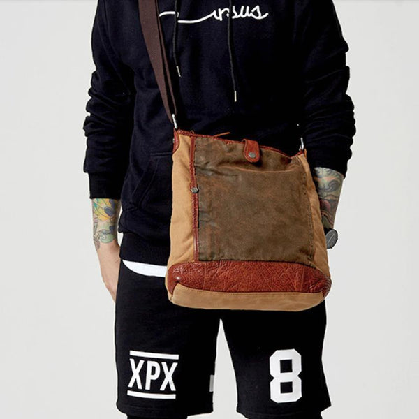 Canvas Leather Mens Distressed Brown Vertical Side Bag Messenger Bag Canvas Courier Bag for Men