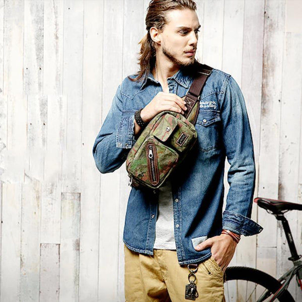 Yellow Camouflage Canvas Fanny Packs Men's Chest Bag Canvas Hip Bag Waist Bags For Men