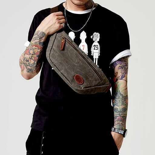 Blue Waxed Canvas Leather Fanny Pack Men's Chest Bag Sling Hip Bag Waist Bag For Men