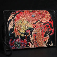 Black Handmade Tooled Leather Carp Toad Clutch Wallet Wristlet Bag Clutch Purse For Men