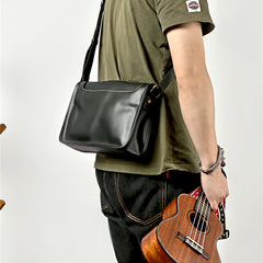 Handmade Dark Coffee Leather Mens 10 inches Courier Bag Brown Messenger Bags Dark Brown Postman Bags For Men