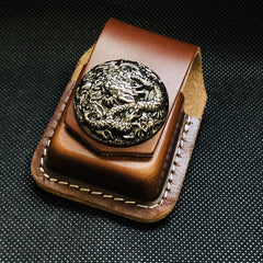 Brown Handmade Leather Mens Texas Star Zippo Lighter Holders Lighter Case For Men