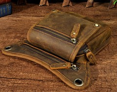 Mens Leather Biker Drop Leg Bag Waist Bag Belt Pouch Pack Side Bag for Men