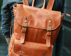 Cool Brown Mens Leather Backpack Travel Backpack School Backpacks for men