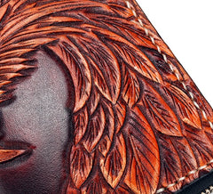 Handmade Leather Eagle Mens Chain Biker Wallet Cool Leather Wallet With Chain Wallets for Men