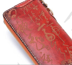 Handmade Leather Mens Chinese Handwriting Chain Biker Wallet Cool Leather Wallet Long Phone Wallets for Men