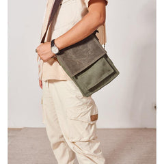 Canvas Mens Vertical Messenger Shoulder Bag Green Small Side Bag Courier Bag for Men