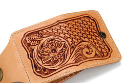 Handmade Leather Mens Cool Tooled Floral Short Wallet Card Holder Card Wallets for Men