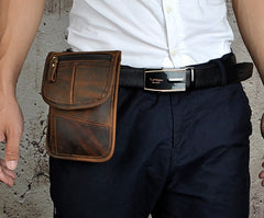 Mens Leather Small Belt Pouch Slim Side Bag Waist Pouch Holster Belt Case for Men