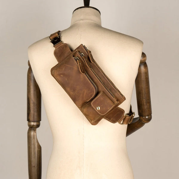 Vintage Brown Leather Mens Fanny Pack Waist Bag Coffee Hip Pack Belt Bag Bumbag for Men