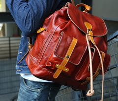 Cool Handmade Leather Mens Backpack Travel Backpacks Laptop Backpack for men