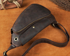 Cool Leather Mens One Shoulder Backpack Sling Bag Chest Bag Sling Backpack for men