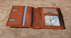 Genuine Leather Mens Cool Long Leather Wallet Slim Travel Passport Wallet for Men