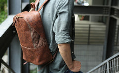 Cool Leather Mens Backpack Travel Backpack Vintage Laptop Backpack for men