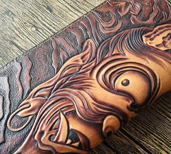 Handmade Leather Buddha&Demon Tooled Mens Long Wallet Cool Leather Wallet Clutch Wallet for Men
