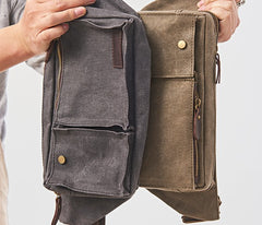 Canvas Mens Fanny Pack Canvas Waist Bag Small Canvas Chest Bag for Men