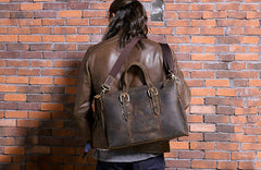 Cool Coffee Leather Mens Briefcase Work Bag Laptop Bag Business Bag for Men