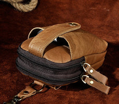 Mens Small Leather Holster Belt Case Belt Pouch Cell Phone Waist Pouch for Men