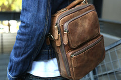 Cool Leather Mens Small Handbags Messenger Bags Shoulder Bag for men