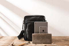 Cool Black Small Leather Mens Shoulder Bags Messengers Bag for Men