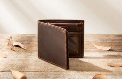 Coffee Cool Leather Mens Slim Small Wallet Bifold Vintage Short Wallet for Men