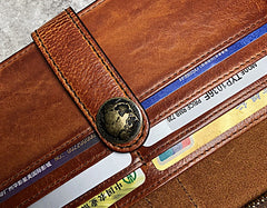 Handmade Genuine Leather Mens Cool Long Leather Wallet Biker Wallet Zipper Clutch Wristlet Wallet for Men