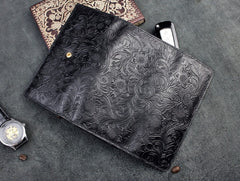 Handmade Leather Floral Mens Cool Travel Long Wallet Card Holder Card Trifold Clutch Wallets for Men