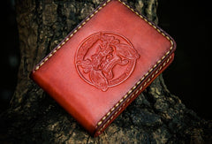 Handmade Leather License Wallet Tooled Mens billfold Wallet Cool Leather Wallet Slim Wallet for Men