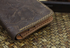 Handmade Leather Floral Mens Cool Slim Leather Wallet Men billfold Wallets Bifold for Men