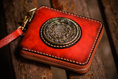 Handmade Leather Small Tibetan Tooled Mens Short Wallet Cool Chain Wallet Biker Wallet for Men