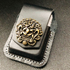 Coffee Handmade Leather Mens Floral Zippo Lighter Holders Lighter Case For Men