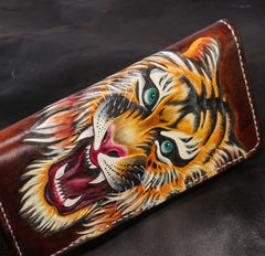 Handmade Leather Tiger Tooled Mens Chain Biker Wallet Cool Leather Wallet Long Phone Wallets for Men