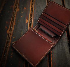 Handmade Leather Mens billfold Wallet Cool Slim Wallet Biker Wallet for Men