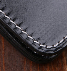 Handmade Leather Mens Cool Black Chain Wallet Biker Trucker Wallet with Chain