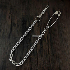 32'' Metal BIKER SILVER WALLET CHAIN LONG Safety Pin PANTS CHAIN Jeans Chain Jean ChainS FOR MEN