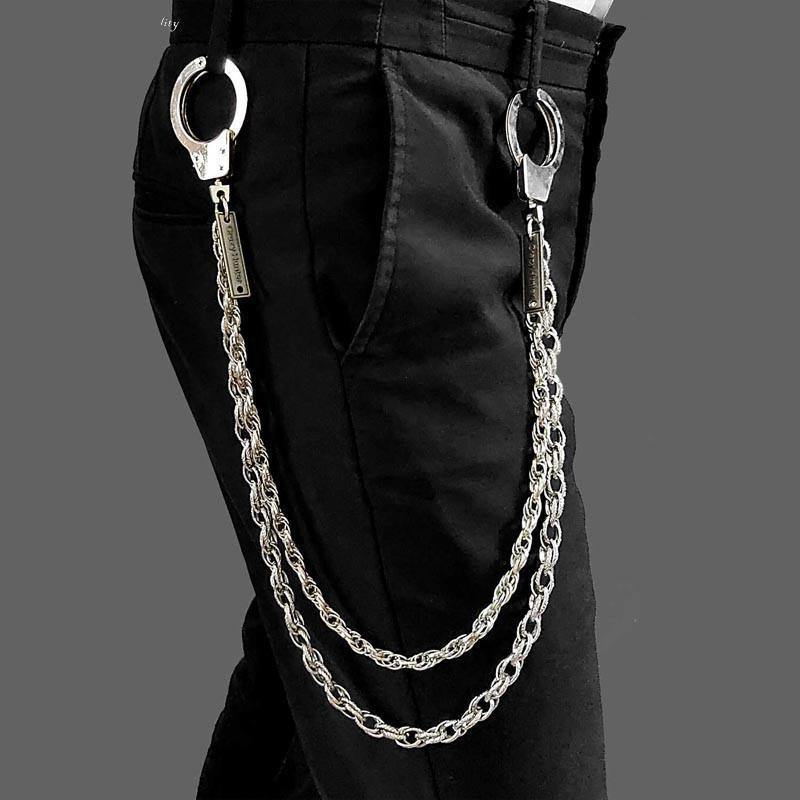 27'' Metal DOUBLE Chain BIKER SILVER WALLET CHAIN Handcuffs LONG PANTS CHAIN SILVER Jeans Chain Jean Chain FOR MEN