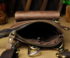 Mens Leather Small Side Bag Waist Pouch Holster COURIER BAG Belt Case Belt Pouch for Men