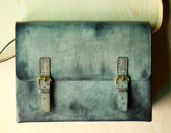 Handmade Vintage Leather Mens Messenger Bags Gray Shoulder Bag for Men