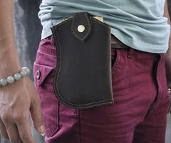 Small Mens Leather Belt Pouch Cell Phone Holster Belt Cases Waist Pouch for Men